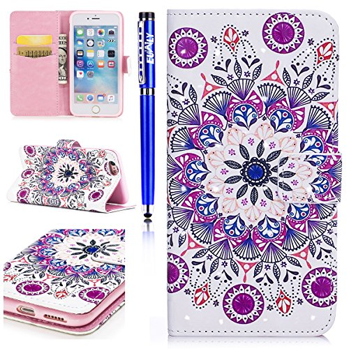 EUWLY Custodia per [iPhone 6 Plus/iPhone 6s Plus (5.5)], 3D Bling Bling PU Pelle Portafoglio Case per iPhone 6 Plus/iPhone 6s Plus (5.5), Flip Stand Bookstyle PU Leather Wallet Cover Fashion Elegant Mandala Fiore
