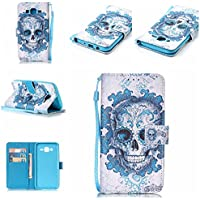 For Samsung Galaxy J5 2015 Case [with Free Screen Protector], Qimmortal Premium PU Leather Wallet Embedded Flip Magnetic Detachable Close Lock with [Lanyard Strap] and [Credit Card Holder Slots]Wallet Embedded Case Cover For Samsung Galaxy J5 2015 (Cloud Ghost)