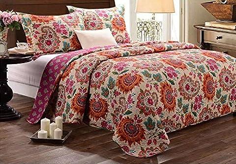 Beddingleer luxury Cotton Printed Floral Patchwork Quilted Bedspread Printed Handmade Bedding Quilt/Sham Set,3PCS King