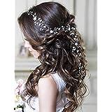 Unicra argento matrimonio fiore di cristallo capelli vite copricapo da sposa fasce accessori per capelli da sposa per le spos