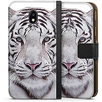 Samsung Galaxy J3 Duos 2017 Tasche Leder Flip Case Hülle Schneetiger White Tiger
