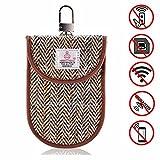 MONOJOY Keyless Go Schutz Autoschlüssel, Strahlenschutz Tasche für Wagen Schlüssel [ Harris Tweed ] RFID Strahlenschutz Tasche für Keyless Schlüssel , autoschlüssel safe