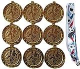 9 große Fussball-Medaillen mit Fußball-Bändern und 3 Fussball-Stickern