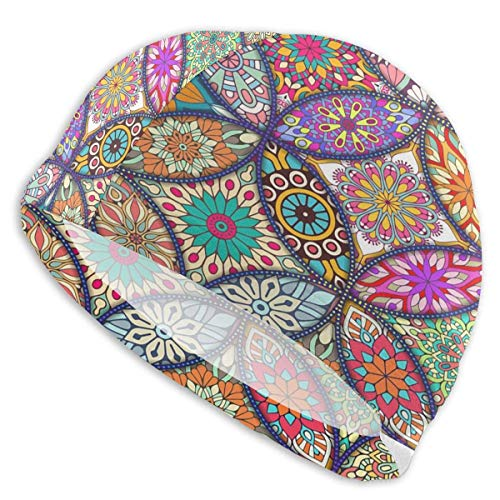 Tyueu Men's Women's Swim Cap Comfort Stretch Five-Ring Colored Mandala Swimming Cap Bathing and Shower Hair Cover for Long Thick Curly Hair One Size Fits Most Schwimmhaube Stretch-lycra-ring