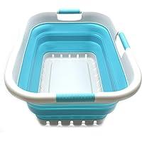 Sammart Panier à linge pliable en plastique 3 poignées – Boîte de rangement pliable et rétractable – Cuve de nettoyage…