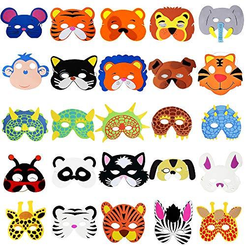 MEJOSER 25pcs Party Masken für Kinder Tiermasken Schaumstoff mit Elastischen Seil für PartyGeburtstag Bühnenaufführungen Thema Party 12 Stücke