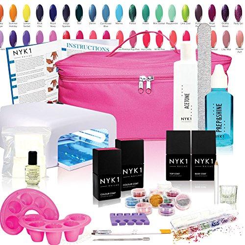 Nyk1 Elite Nailac Gel UV Nail kit – Vous Choisissez vos Couleurs UV/LED avec dessus et base, Housse de transport et de Professional Instructions étape par étape et tous les accessoires Essentiels
