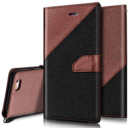 Custodia iPhone 6S 4.7 Cover iPhone 6 4.7,Ukayfe Stitching Colore Flip Case Cover per iPhone 6S 4.7,iPhone 6/6S Lussuosa Astuccio Custodia Cover [PU Leather] [Shock-Absorption] Protettiva Portafoglio Nero + Marrone