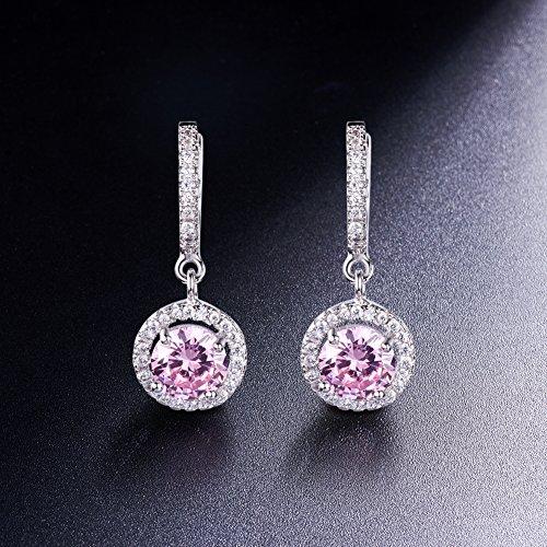 SWEETIEE-Delicate Boucle d`Oreille en Pur Argent 925 Sterling Micro Pavé Zirconia Pendentif rond avec AAA Zircon,platinum Pink