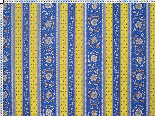 Tessuto da tappezzeria, rivestimento in tessuto, tessuto da tappezzeria, tessuto, tessuto della tenda, tessuto - dinky, giallo-blu - cotone rurale con decorazione floreale romantica e