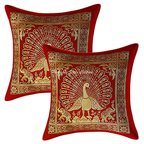 Stylo Culture Brocade Decorative Peacock Couch Sofa Cushion Covers 30 by 30cm Set of 2 Pc Maroon Gold Jacquard Banarsi Home Decor Floral for Festival Square 12 by 12 Inch