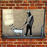 """Banksy perro Walk jóvenes Lienzo Impresión sobre lienzo enmarcado pequeño, mediano y grande, 24""""X18"""" (60X46CM)"""