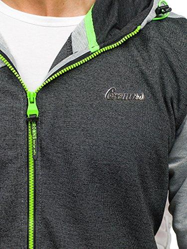 BOLF Herren Kapuzenpullover Sweatshirt Hoodie Kapuze Pullover Zip 1A1 Motiv Grau-Anthrazit_T955