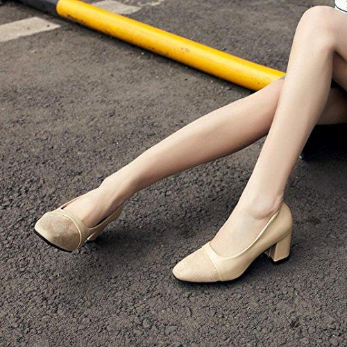 Longra Moda Donna Primavera Artificiale In Pelle Semplice Tacco Spessore Scarpe Nude Scarpe da lavoro basse Cachi