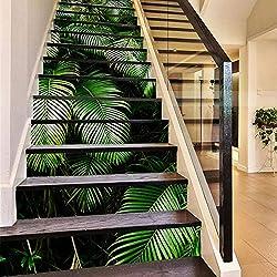 "TIEZHI 3D Treppen Fliese Aufkleber Tropischer Wald Blätter Korridor Wandbild für Haus Wände Küche Badezimmer 39.3"" wx7 hx13PCS"