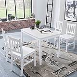 Wohnnling Esszimmertiscch 5teilig aus Kiefer-Holz in weiß Landhaus-Stil, Esszimmergruppe mit Einem Tisch und Vier Stühle für 4 Personen; Tisch Maße (B/T/H) in cm: 108 x 65 x 73