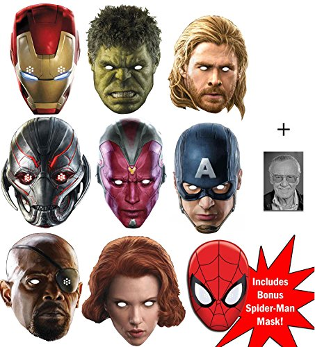 Marvel's Marvel Avengers Age of Ultron ultimative Superheld Packung von 8 Karte Partei Gesichtsmasken (Maske) (Iron Man, The Hulk, Black Widow, Nick Fury, Vision, Ultron, Thor und Captain America) + Bonus Spider-Man Maske und Enthält 6X4 (15X10Cm) starfoto (Promi Familien Kostüm)