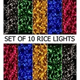 COMBO PACK OF 10 (PINK WHITE GOLDEN BLUE GREEN) COLOURS WATERPROOF FESTIVAL DIWALI LED STRING HOME DECORATION LIGHT DECORATIVE LIGHTING 10 METER/ 35 FEET INDOOR OUTDOOR WEDDING PARTY