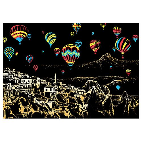 Faironly Creative DIY Scratch Bright City Night View Scraping Painting World Sightseeing Bilder als Geschenk Colorful Hot Air Balloon