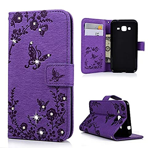 J3 Case ,Galaxy J3 Case (2016 Model) - Mavis's Diary Wallet 3D Bling Diamonds Folio Flip PU Leather Embossed Butterflies with Stand Magnetic Closure Card Slot TPU Inner Cover for Samsung Galaxy J3 (Not for 2015 Model)- Purple