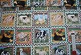 alles-meine.de GmbH 1 m * 1,10 m Stoff Tiere 100 % Baumwolle Kästchen Bauernhof Schaf Kühe Enten