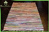 ORNAMENT Fleckerlteppich Handgewebt 300 x 200 cm Kelim Beidseitig nutzbar 2000g/m Flickenteppich Fleckerlteppich