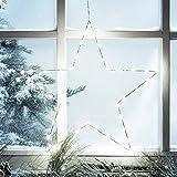 Lights4fun - Stella in Metallo Bianco con Micro LED Bianco Caldo a Pile