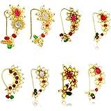 SHAYZA Maharashtrian Traditional Pearl Temple Jewellery marathi Banu Nathiya Nose pin Nath Nose Ring for Wedding Women Girls
