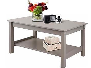 Gross Couchtisch Wohnzimmertisch Tisch JEFFREY 50 X 100 Cm Aus FSC MDF Mit Ablage In Grau