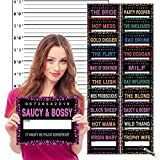 Bachelorette Party Mugshot Prop Signs - INCLUDES Height Backdrop Poster - Girls Night Out - Fun Party Games