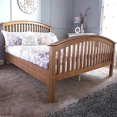 Home Furnishings UK Hf4you Madrid High Footend Bedstead - 4FT6 Double - Oak - Frame Only