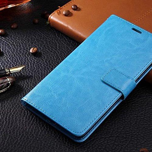 EKINHUI Case Cover Samsung A3 Fall feste Folio magnetische Design Flip Brieftasche Stil Fall Farbmuster PU-Leder-Abdeckung Standup-Abdeckungsfall für Samsung Galaxy A3 (2016) ( Color : Brown , Size :  Blue