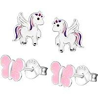 SL-Silver – 2 paio di bambini orecchini set Unicorno Glitter Argento 925 farfalla con custodia in regalo