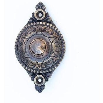 Türklingel mit Engel Haustür-Klingel in Antik-Messing wie historische Klingel