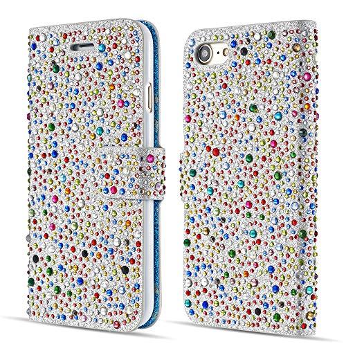 ZCDAYE Sparkly Diamond Flip Hülle für iPhone 6 6S,Bling Glitter Magnetisch Folio PU Leder Cute Case mit [Kartensteckplätze] Standfunktion Schutzhülle[Silber+Multicolor]