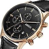 Herren Armbanduhr wasserdicht schwarz Leder Armband & Rose Gold Gehäuse mit Chronographen und Datumsanzeige, elegant und klassisch Quarz Herren Uhren - BAOGELA