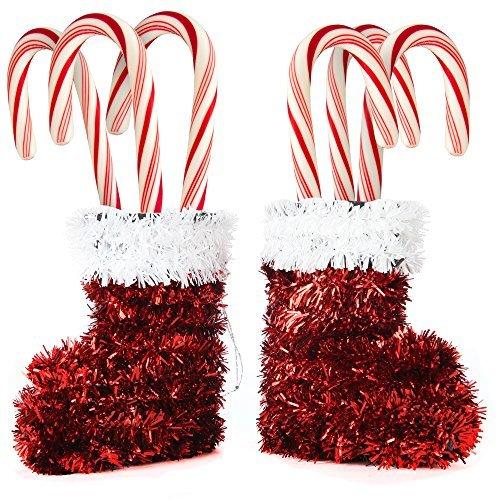 home-x Santa Sparkle Stiefel hängende Dekoration Ornament oder Tisch (Set von 2) (Felgen Durango)