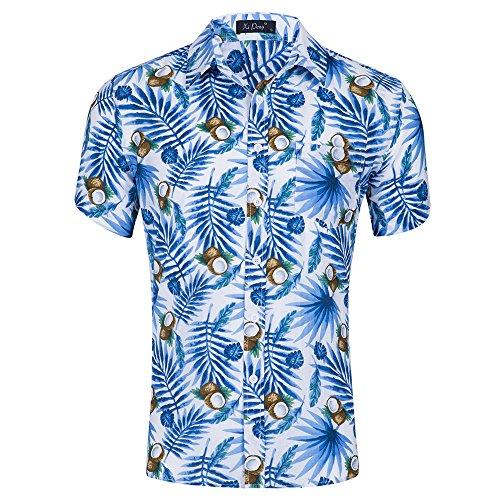 Hawaiihemd Shirt Freizeithemd Kurzarm mit Modischem Druck Kokosnuss M ()