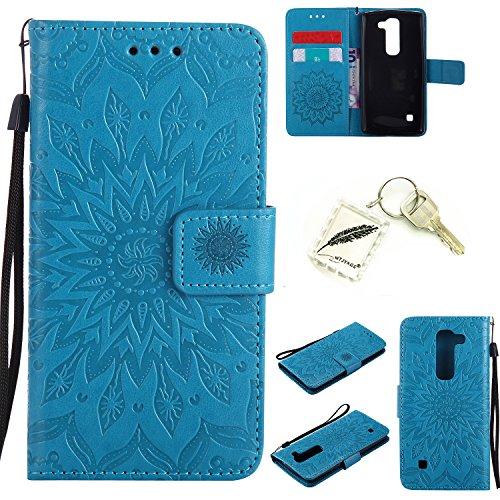 Preisvergleich Produktbild Silikonsoftshell PU Hülle für LG Spirit C70 H440 H422 Tasche Schutz Hülle Case Cover Etui Strass Schutz schutzhülle Bumper Schale Silicone case+Exquisite key chain X1) #KD (2)