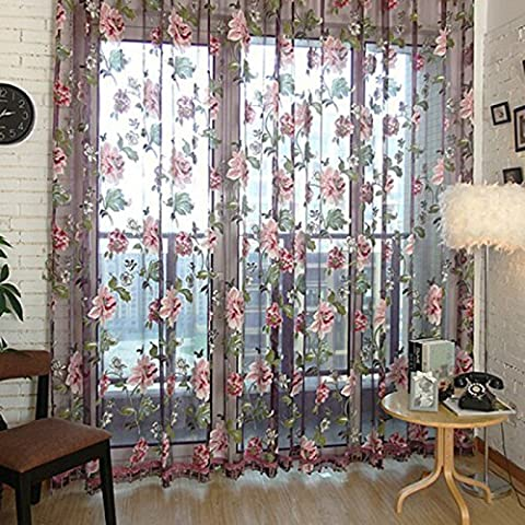 aoxintek 100* 200cm sala de estilo vintage floral gasa tul puerta ventana balcón cortina, color morado