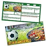 Fußball + Grill-Party Einladungskarten Set XL (24 Stück) zur Fussball-Party oder Kindergeburtstag für Jungen Mädchen und Erwachsene von BREITENWERK®