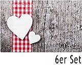 matches21 Tischsets Platzsets MOTIV Landhaus Herzen auf Holzbrett / Holzoptik 6 Stk. Kunststoff abwaschbar je 43,5x28,5 cm