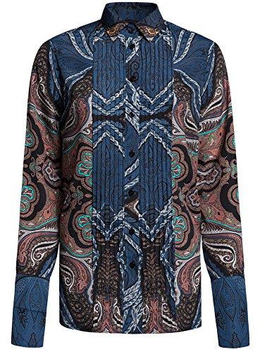 oodji Collection Damen Lässige Bluse mit DEKO-Steppnähten auf der Brust Blau (7933E)