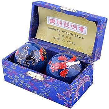 Boules de Santé Diamètre 38mm Traditionnelle Qi Gong Ornées de Dragon et Phénix - Porte-Bonheur - Mxsabrina Bracelet de ficelle rouge offerte