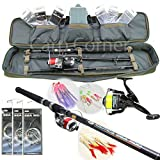 Deluxe Sea Rock Jetty Boat Fishing Travel Starter Set Up 4 Piece 8ft