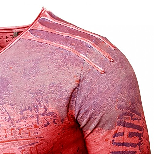 Rusty Neal Printed Motiv Druck Herren Langarm Shirt T-Shirt Longshirt A1-RN10109 Bordo