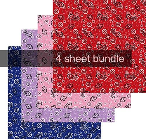 Farbe Brother Tinte (Bandana Vinyl, Muster, selbstklebend, Vinyl, Rot, Pink, Violett, Blau, 10,2 x 30,5 cm)