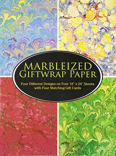 "Produktbild Marbleized Giftwrap Paper: Four Different Designs on Four 18"" x 24"" Sheets with Four Matching Gift Cards (Giftwrap--4 Sheets,  4 Designs)"