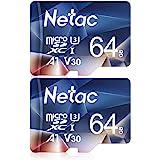 Netac 64G Scheda Micro SD Set da 2, Scheda di Memoria A1, U3, C10, V30, 4K, 667X, UHS-I velocità Fino a 100/30 MB/Sec(R/W) Mi