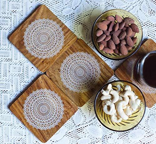 I Value Every Idea IVEI Mandala Teak Wood Reversible Coasters - Set of 4 (Retro) -